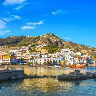 Sant Angelo village, beach and rocks in Ischia island. Campania,